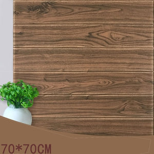 70*70 Mediterranean Vintage 3D Wood Stripes Wall Stickers DIY PE Foam Self-adhesive Living Room Bedroom Home Decor Wallpapers
