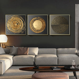 Top Quality Canvas Painting Abstract Gold Black Square Texture Posters And Prints Wall Art Pictures For Living Room Home Decor