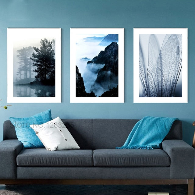Navy Blue Landscape Nordic Poster Mountain Wall Art Canvas Painting Cuadros Wall Pictures For Living Room Tree Picture Unframed