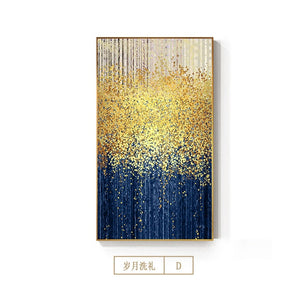 Abstract Golden Dots Canvas Painting Blue Green Gray Poster and Print Modern Wall Picture for Living Room Luxury Huge Wall Art