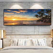 Load image into Gallery viewer, Sunsets Natural Sea Beach Coconut Palm Panorama Landscape Canvas Painting Posters and Prints Wall Art Picture for Living Room