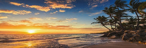 Sunsets Natural Sea Beach Coconut Palm Panorama Landscape Canvas Painting Posters and Prints Wall Art Picture for Living Room