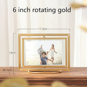 Picture Frame Metal Desk Table Creative Rotating Fold Decor Photo Frame with Transparent Glass Wedding Family Photo Frames