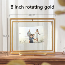 Load image into Gallery viewer, Picture Frame Metal Desk Table Creative Rotating Fold Decor Photo Frame with Transparent Glass Wedding Family Photo Frames