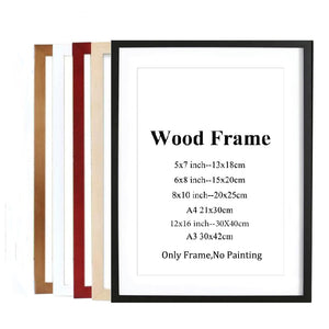 Nature Solid Wooden Frame A4 A3 Black White Red Blue Color Picture Photo Frame with Mats for Wall Mounting Hardware Included