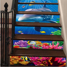Load image into Gallery viewer, 6PCS Removable Stairs Sticker Step Self-Adhesive Ceramic Tiles PVC Stair Wallpaper Decal Vinyl Stairway Home Decoration 18x100CM