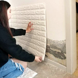 10pcs 3D Stereoscopic Wall Sticker Anti-collision Soft Brick Brick Wall Foam Wallpaper Renovation Wallpaper Self Adhesive Water