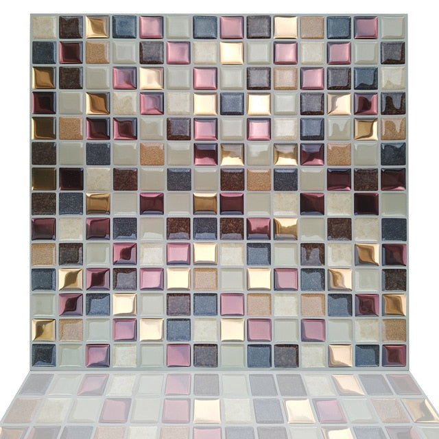 Fancytiles Waterproof Self Adhesive 3D Mosaic Wall Decal peel and stick vinyl tile kitchen backsplash