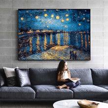 Load image into Gallery viewer, Van Gogh Starry Night Canvas Paintings Replica On The Wall Impressionist Starry Night Canvas Pictures For Living Room Cuadros