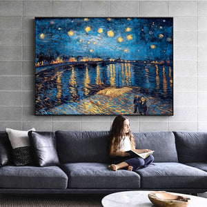 Van Gogh Starry Night Canvas Paintings Replica On The Wall Impressionist Starry Night Canvas Pictures For Living Room Cuadros