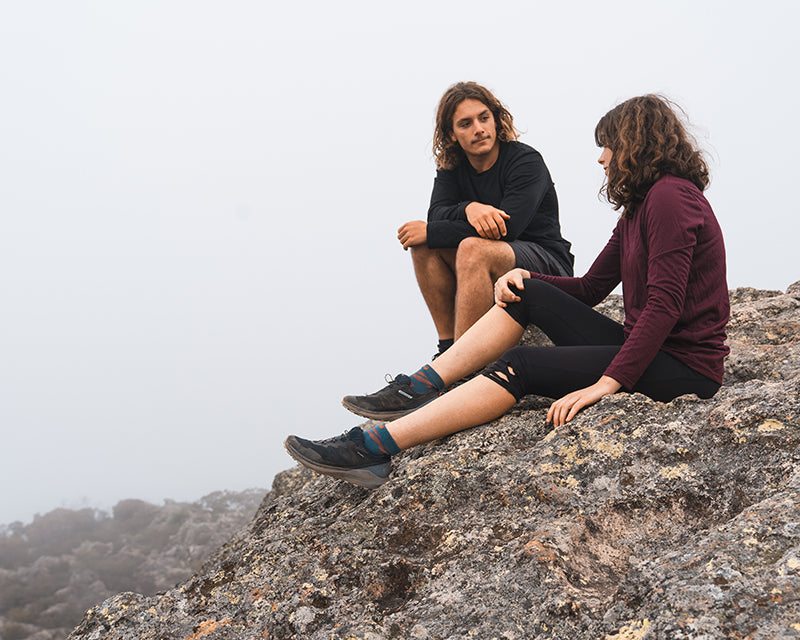 two hikers in queensland in cloudy weather wearing ottie merino long sleeve t-shirts