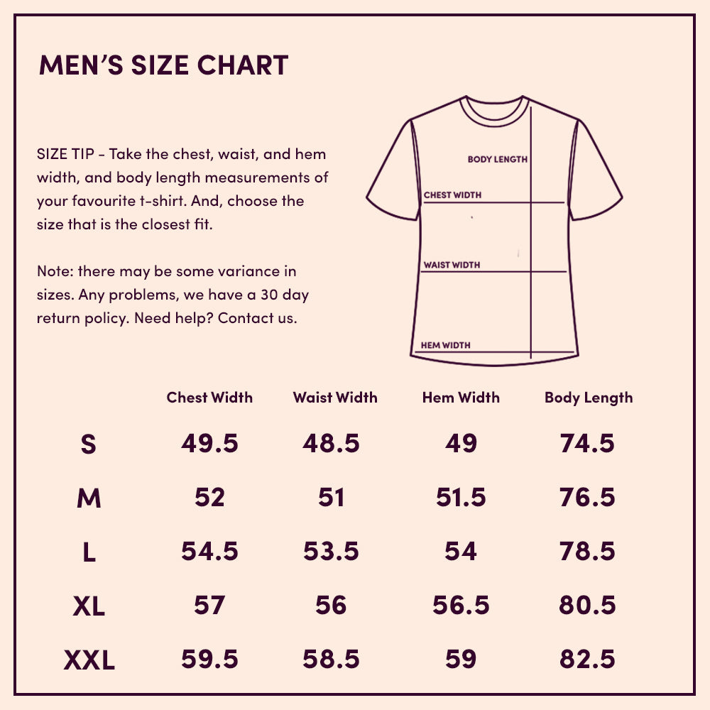 men's size chart for ottie merino wool hiking t-shirts. available in sizes small to extra extra large (XXL)
