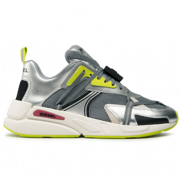 Diesel: S-SERENDIPITY LC ECO SNEAKERS (MONUMENT/SILVER/LIME PUNCH)