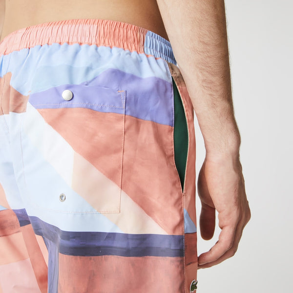 Lacoste: Men's Printed Cotton Shirt & Trunks Set (Salmon/Blue)
