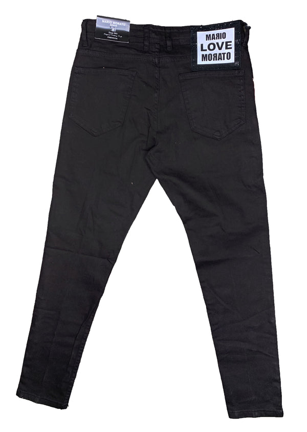 Mario Morato: Side-Zip Denim Skinny Jeans (Black/Red)