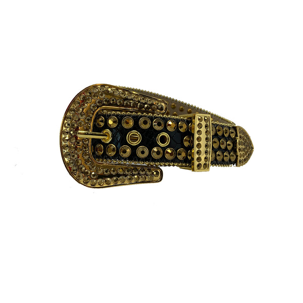 DNA: DNA Belt Black Leather with Gold Stones
