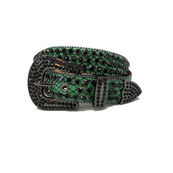 DNA: DNA Belt Green Leather with Black Stones