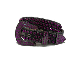 DNA: DNA Belt Black Leather with Purple Stones