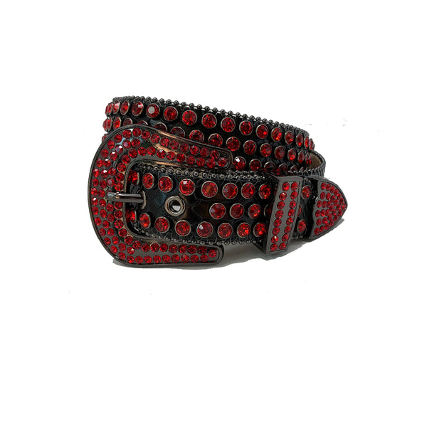 DNA: DNA Belt Black Leather with Red Stones