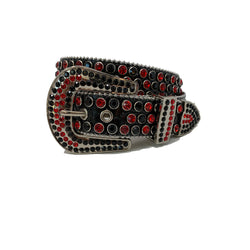 DNA: DNA Belt Black Leather with Black and Red Stones