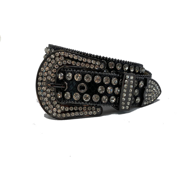 DNA: DNA Belt Black Leather with White Stones