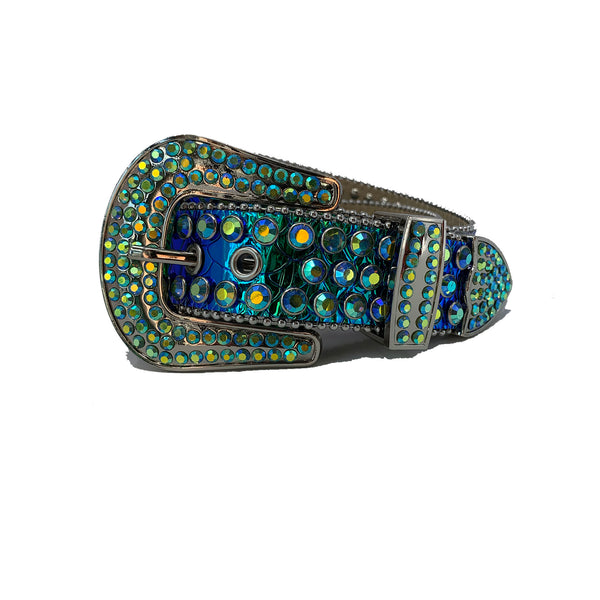 DNA: DNA Belt Blue/Green Leather with Blue/Green Stones