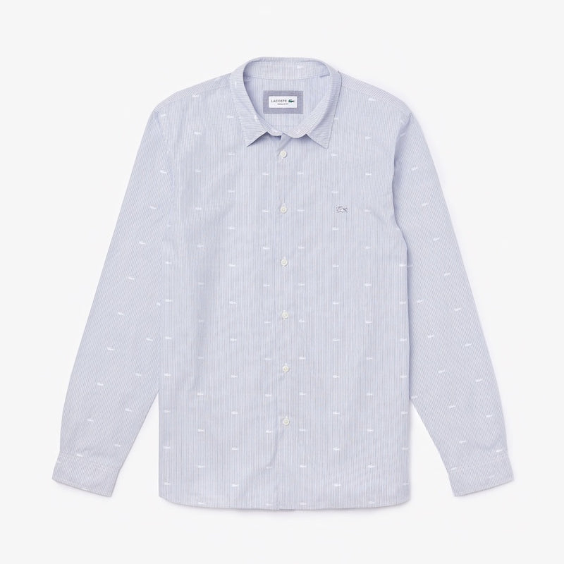 Lacoste: Men's Crocodile Print Poplin Long Sleeve Shirt (Light Blue/White)