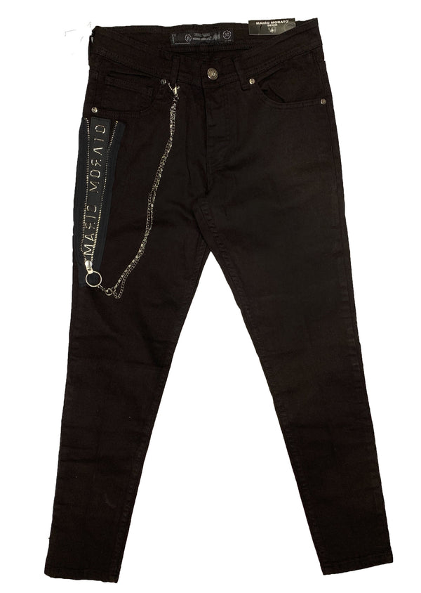 Mario Morato: Side-Zip Denim Skinny Jeans (Black)