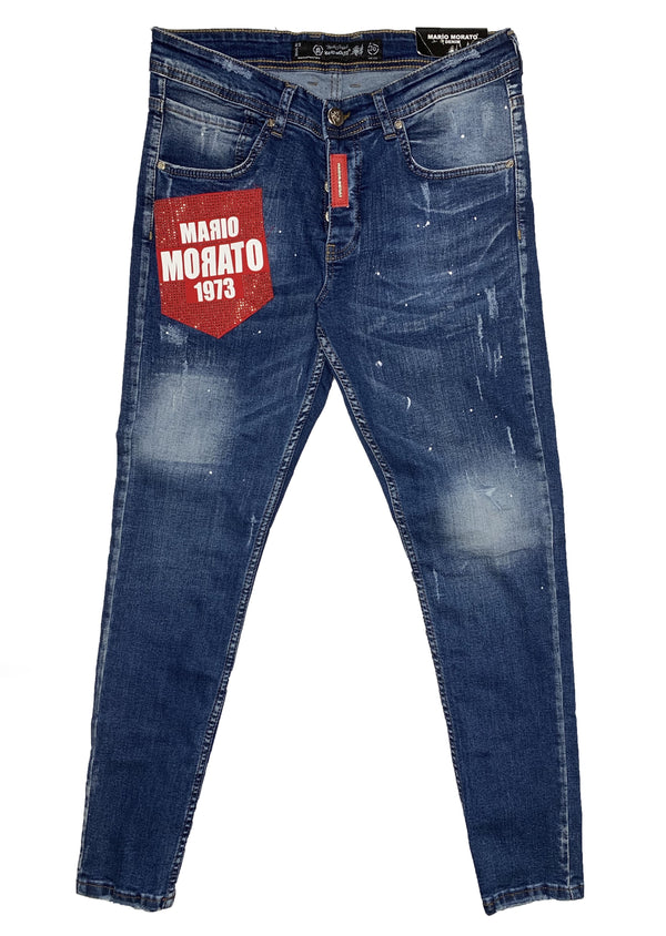 Mario Morato: 1973 Denim Jeans (Denim Washed/Red)