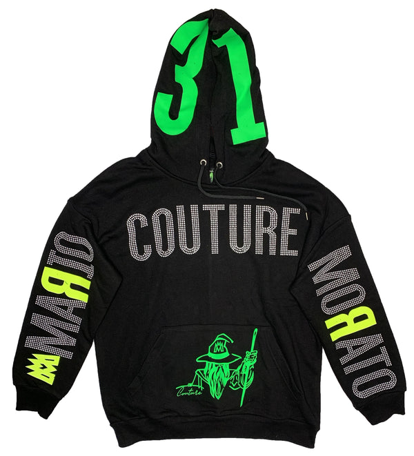 Mario Morato: Couture Green Wizard Hoodie (Black/Lime)