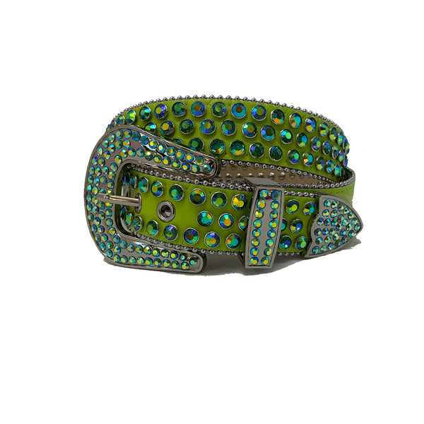 DNA: DNA Belt Green Leather with Green and Blue Stones