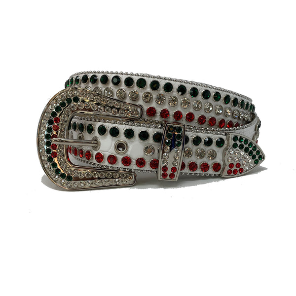 DNA: DNA Belt White Leather with Red, Green, and White Stones