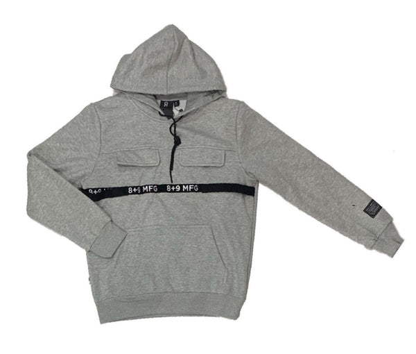 8&9: 8&9 Strapped Up Fleece Hoodie (Grey)