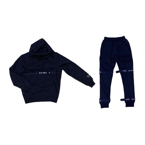 8&9: 8&9 Strapped Up Fleece Set (Navy)