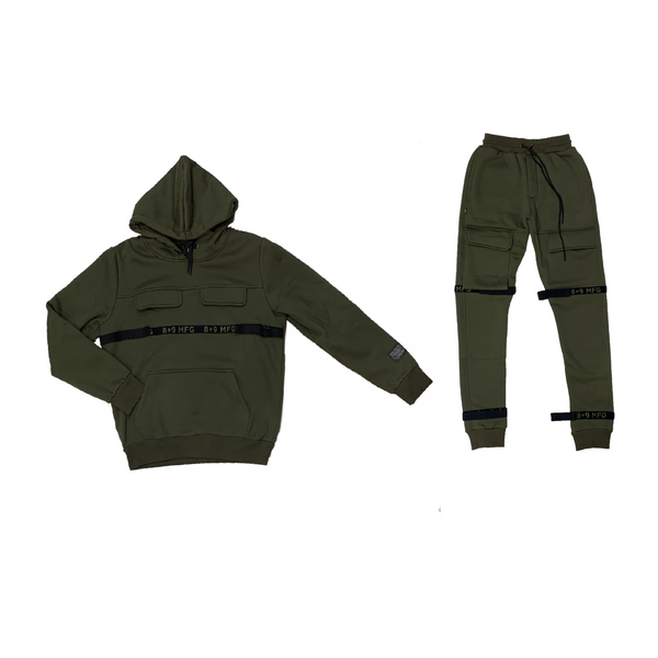 8&9: 8&9 Strapped Up Fleece Set (Olive)
