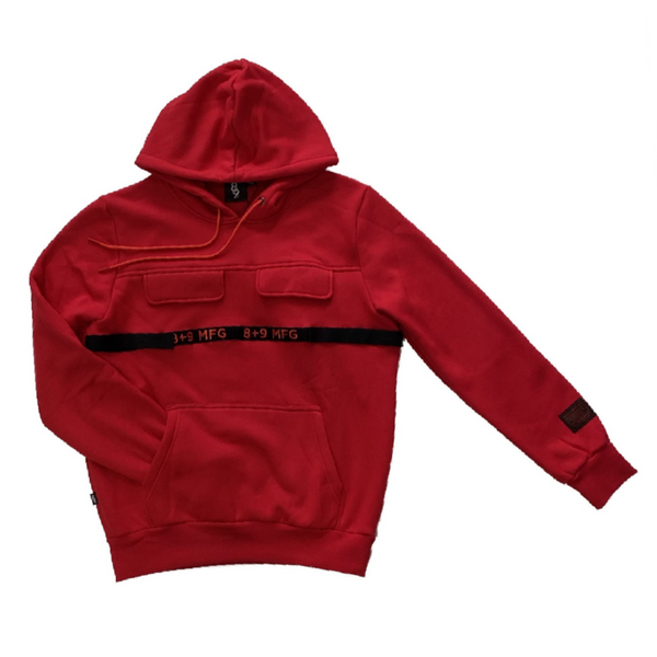 8&9: 8&9 Strapped Up Fleece Hoodie (Red)