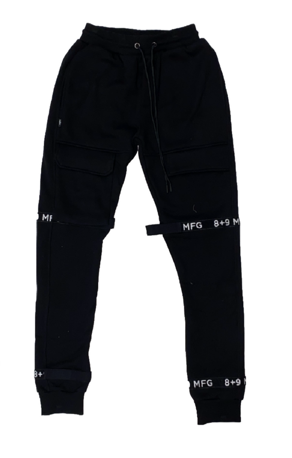 8&9: 8&9 Strapped Up Fleece Joggers (Black)