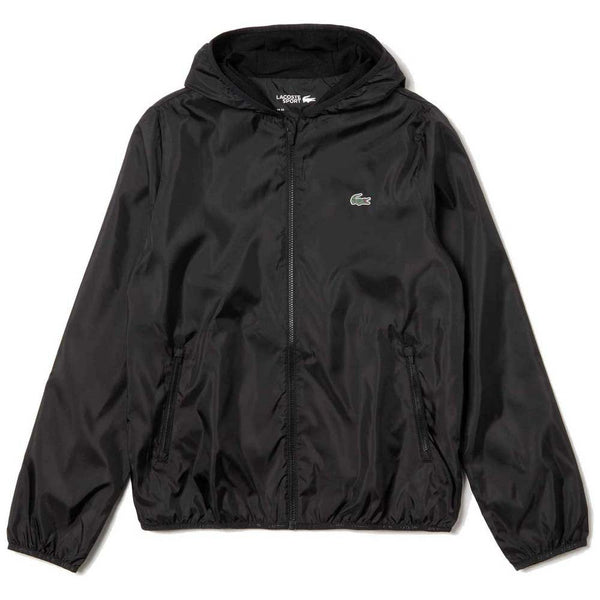Lacoste: SPORT Hooded Packable Windbreaker(Black)