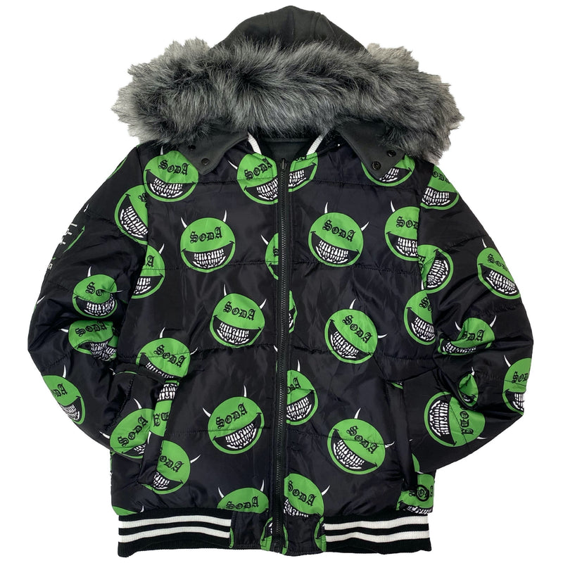 HARD SODA: Soda Head Reversible Jacket (Black/Green)