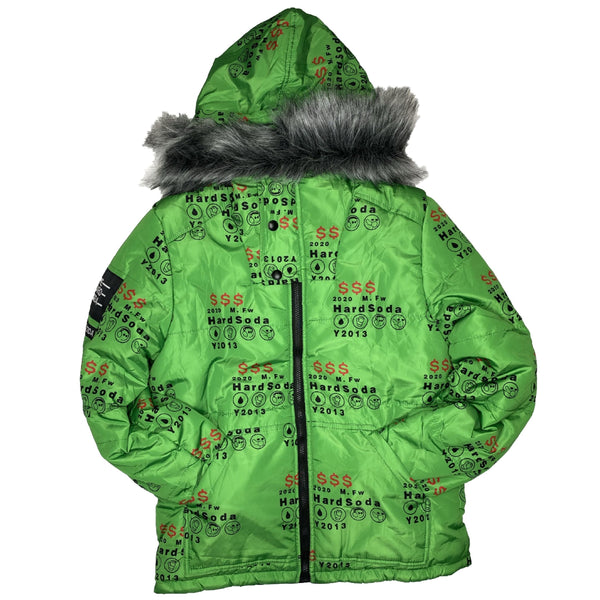 HARD SODA: Green Money Reversible Jacket (Slime Green)