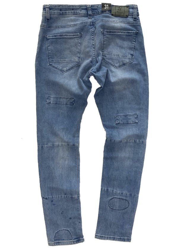 2Y Premium Denim: Ripped And Repaired Rip Knee Denim (Blue)