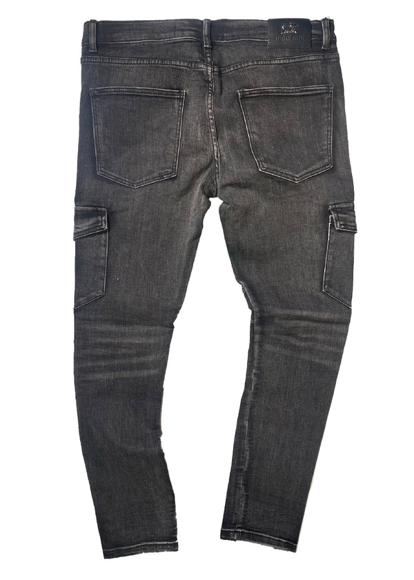Damati Jeans: Distressed Cargo Denim (Black)