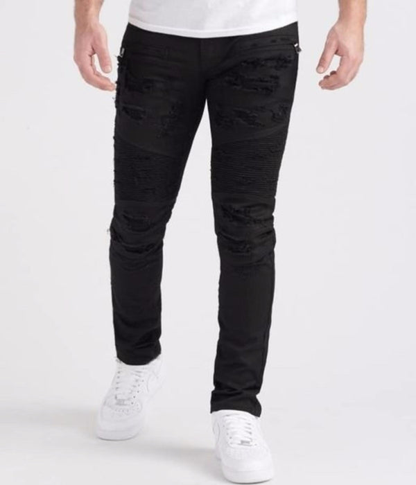 Preme: Buffalo Black Distressed Biker Denim