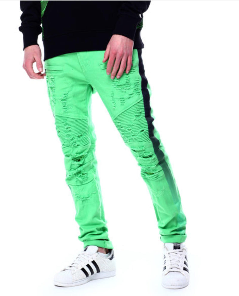 Preme: Lime Green Biker Denim (Lime & Black Faded Stripe) (PR-WB-325)
