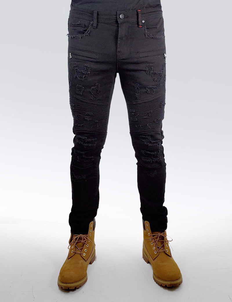 Preme: Buffalo Black Biker Denim (Flame Belt Patch)