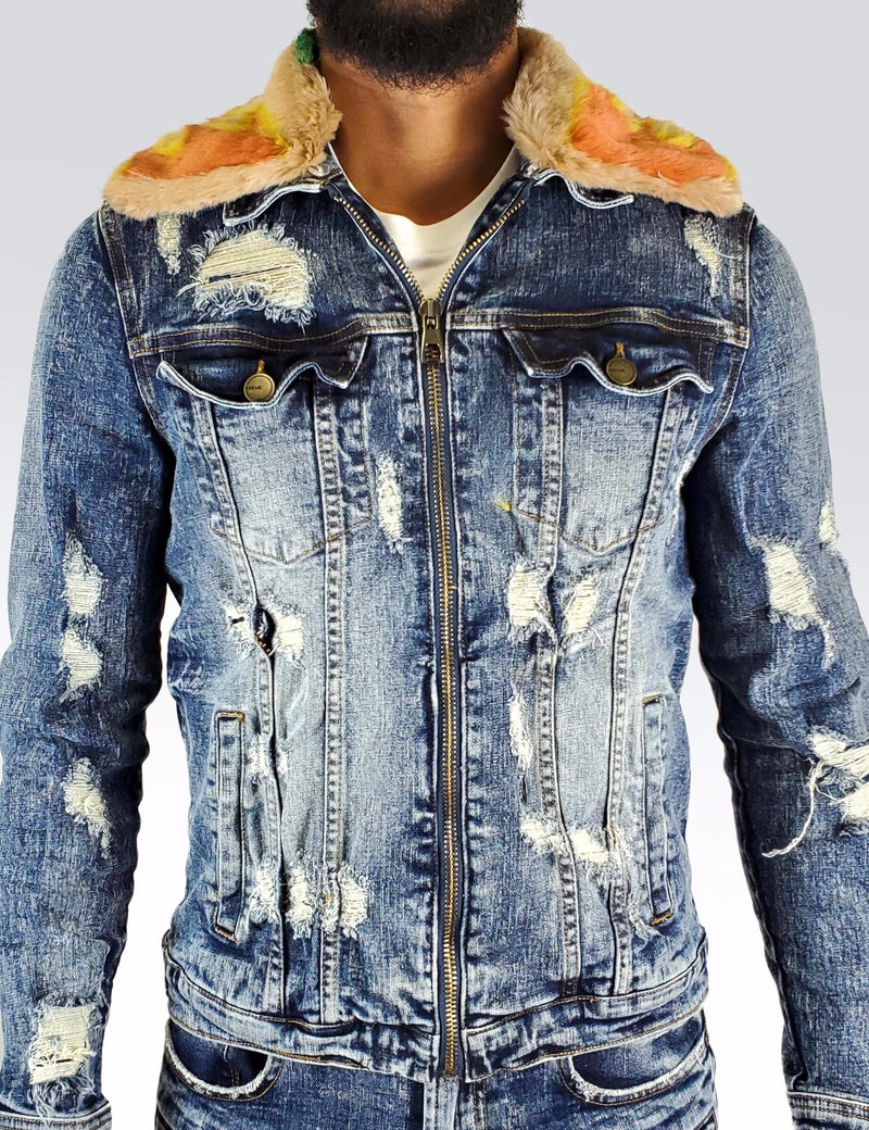 Preme: Indigo Removable Flame Fur Denim Jacket