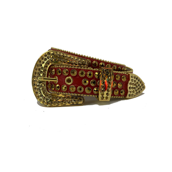 DNA: DNA Belt Red Leather with Gold Stones