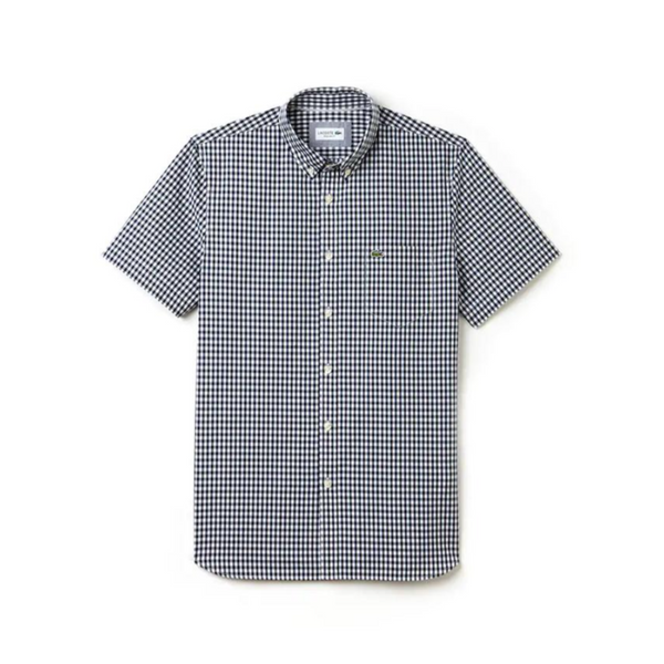 Lacoste: Men's Regular Fit Gingham Poplin Shirt (Navy/White)