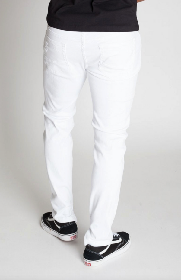 KDNK: Destroyed Ankle Zip Jeans (White)