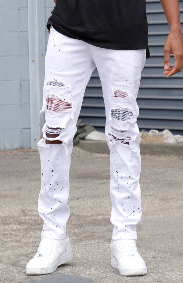 KDNK: 2-Tone Rhinestone Patched Jeans (White)